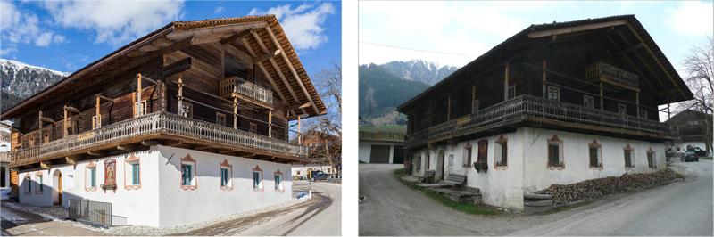 Edificio Rainhof, a la izquierda imagen tras la rehabilitación, y a la derecha aspecto de la casa antes de la reforma.