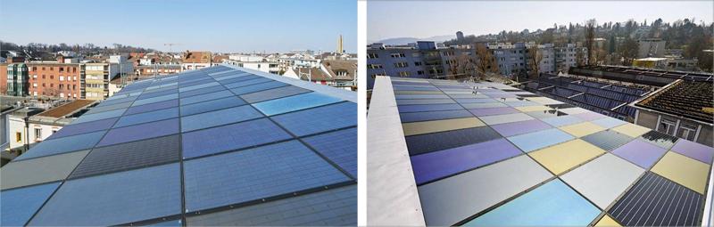 Se instalaron paneles fotovoltaicos de colores en toda la cubierta del edificio.
