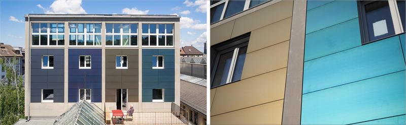 Aspecto actual del edificio Solar Silo. A la derecha detalle de la fachada cubierta con paneles fotovoltaicos.
