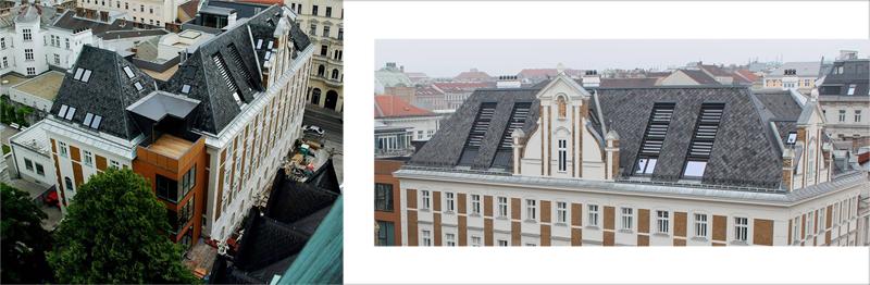 A la izquierda puede verse la extensión del edificio con fachada cerámica. A la derecha, los ventanales de la cubierta que permiten la iluminación natural en la parte superior del edificio.