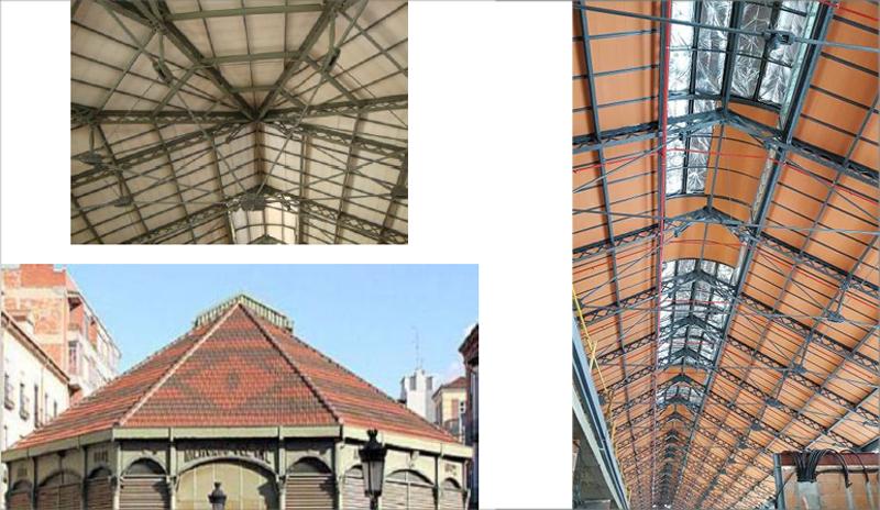 A la izquierda, aspecto de la antigua cubierta del mercado de Valladolid, y a la derecha imagen de la cubierta nueva.
