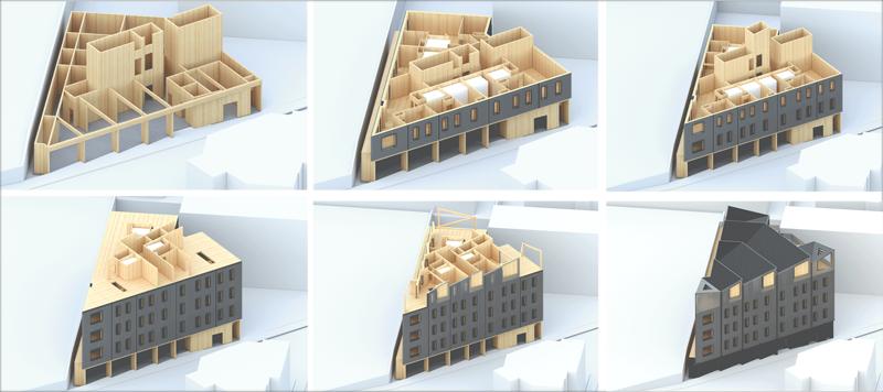 Construcción modular del edificio. Imagen: Generate Architecture and Technologies.