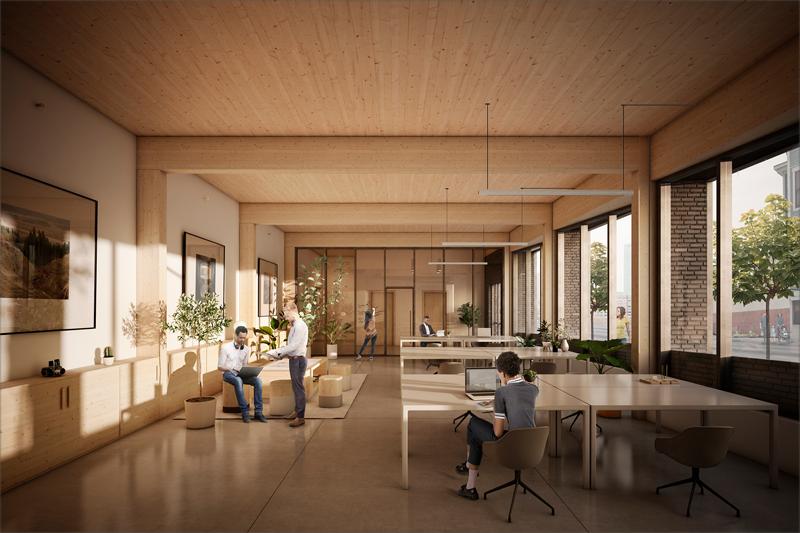 Interior de la primera planta, que albergará el espacio de coworking. Imagen: Generate Architecture and Technologies.