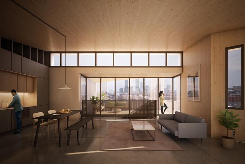 Imagen de una de las zonas de vivienda. Imagen: Generate Architecture and Technologies.