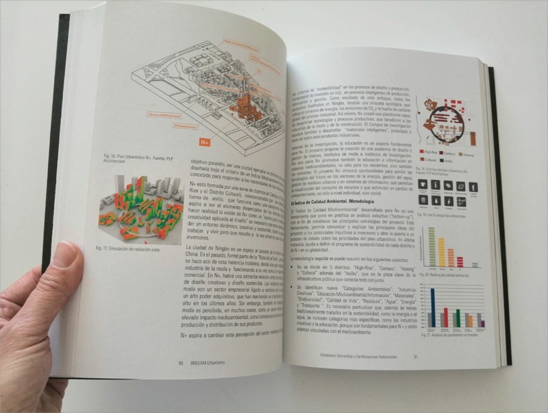 La publicación de BREEAM muestra artículos sobre sostenibilidad urbana y casos de éxito.