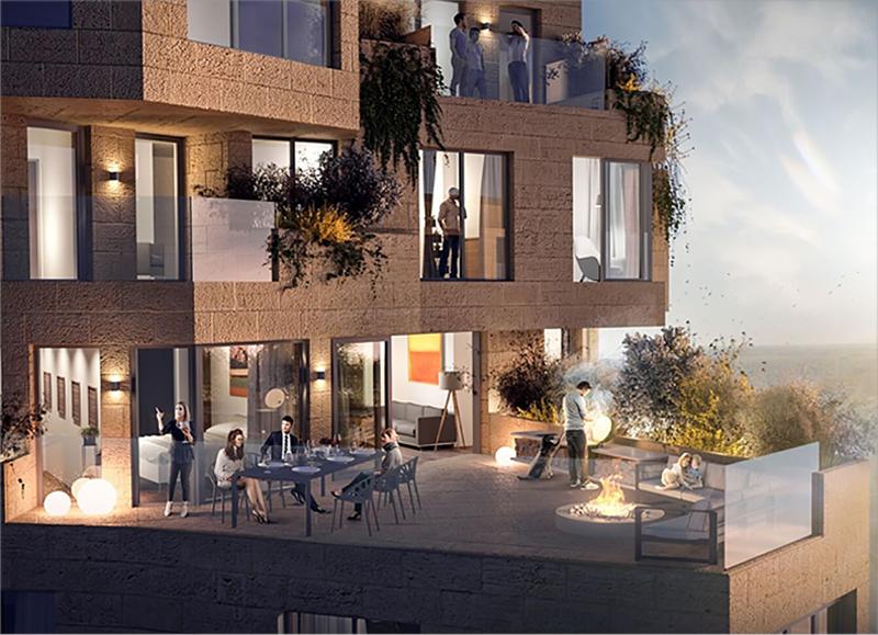 La forma irregular de Valley ofrece una gran cantidad de apartamentos con espectaculares ventanales con vistas panorámicas.