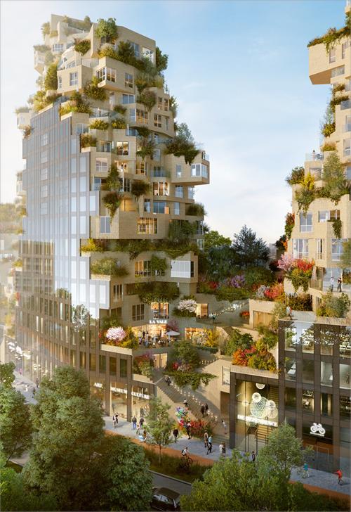 La vegetación al nivel de la calle continúa ininterrumpidamente a las diversas terrazas del edificio.