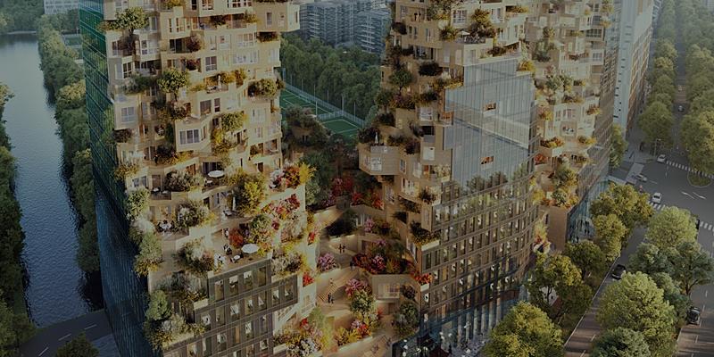 Edificio Valley, actualmente construyéndose en el distrito de Zuidas en Amsterdam.