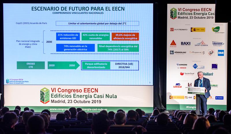 Celebración del VI Congreso Edificios Energía Casi Nula en el Auditorio de La Nave del Ayuntamiento de Madrid.