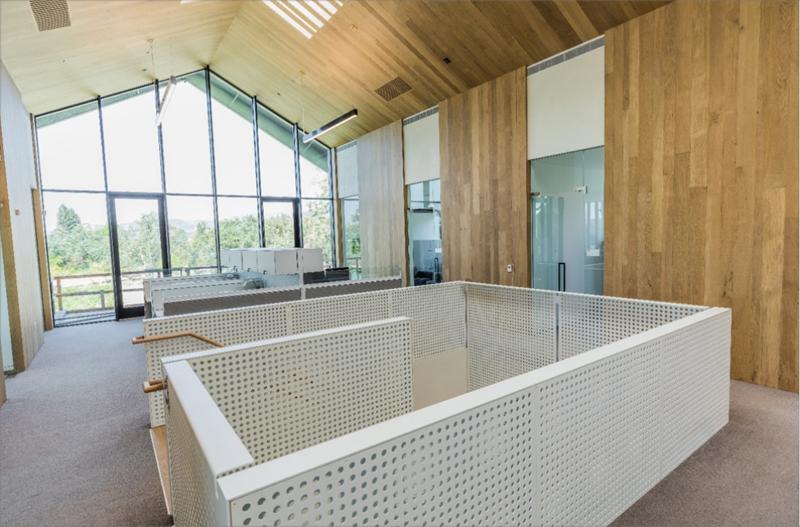 Uno de los espacios interiores del edificio, construido con madera sostenible y grandes ventanales que permiten la entrada de luz natural.
