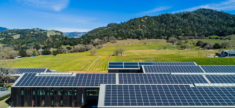 Los paneles solares instalados en la cubierta del edificio proporciona más del 100% de la energía necesaria.