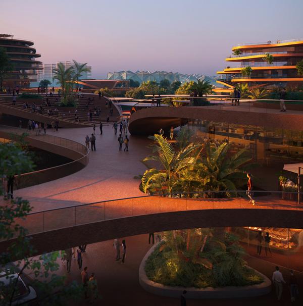 El diseño de puentes de conexión facilitará la conexión entre los diferentes espacios del complejo.