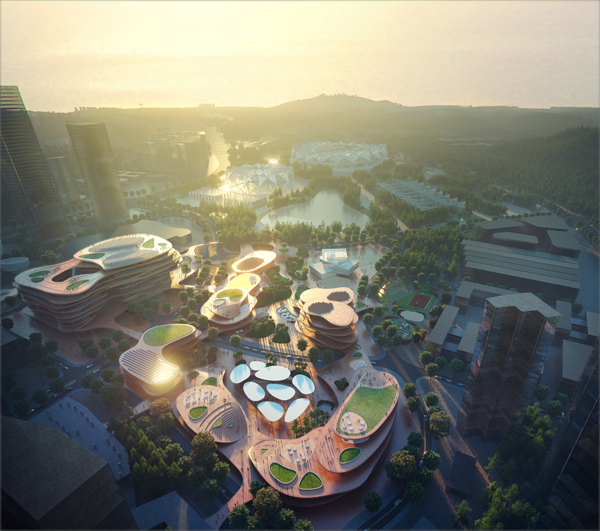 El proyecto destaca por su peculiar diseño paisajístico que integra la naturaleza en la ciudad. Imagen: MVRDV-Atchain.
