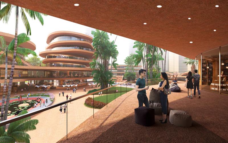El complejo albergará diferentes espacios culturales y comerciales. Imagen: MVRDV-Atchain.
