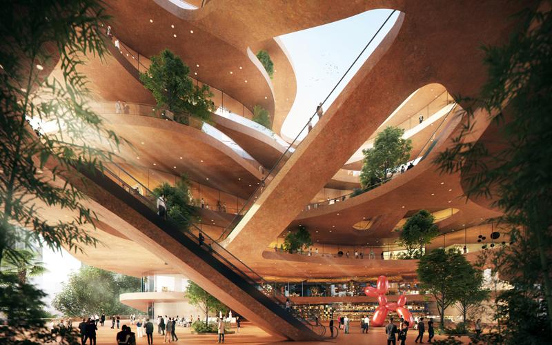 Los edificios estarán rodeados de vegetación y las formas arquitectónicas facilitarán las sombras. Imagen: MVRDV-Atchain.