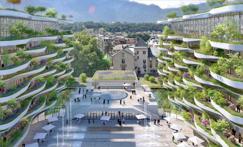 La creación de una nueva plaza, 'Place Georges 1er', al este del complejo, permite organizar el acceso a las viviendas al tiempo que optimiza la conexión con la ciudad y con las antiguas termas a través de una gran cúpula.
