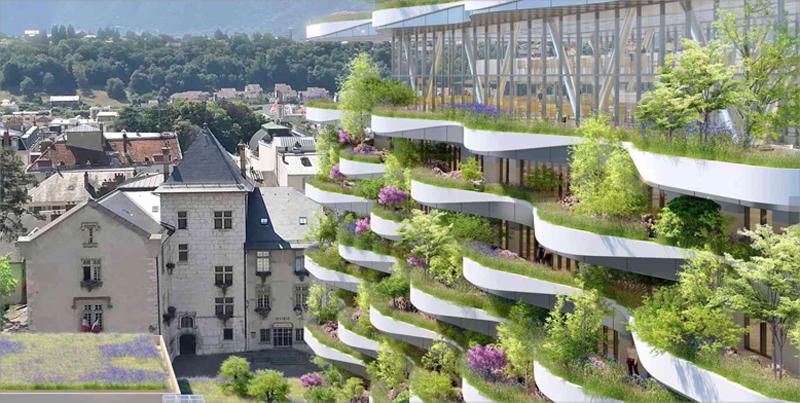 La propuesta de Callebaut presenta una estructura llena de vegetación y con terrazas verdes en forma de onda.