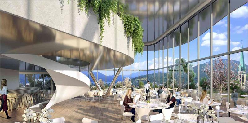 La azotea de uno de los edificios albergará un restaurante con vistas panorámicas a la ciudad y a las montañas colindantes.