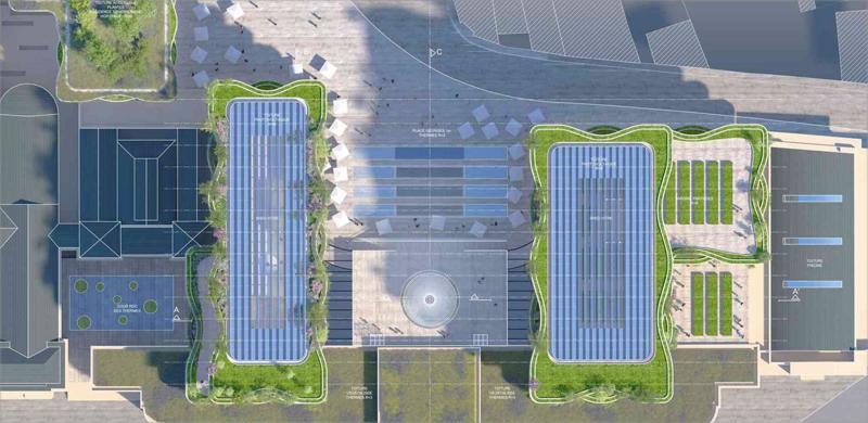 Vista en planta de la nueva edificación, cuyas cubiertas albergarán huertos urbanos e instalaciones solares.
