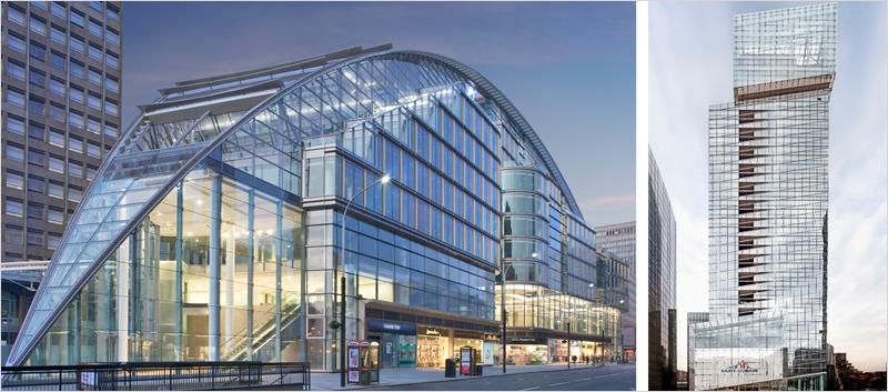edificios con building glass