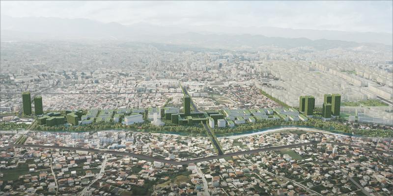 Tirana Riverside estará ubicado a lo largo de la frontera norte de la capital, bordeando el río Tirana. Imagen: Stefano Boeri Architetti.