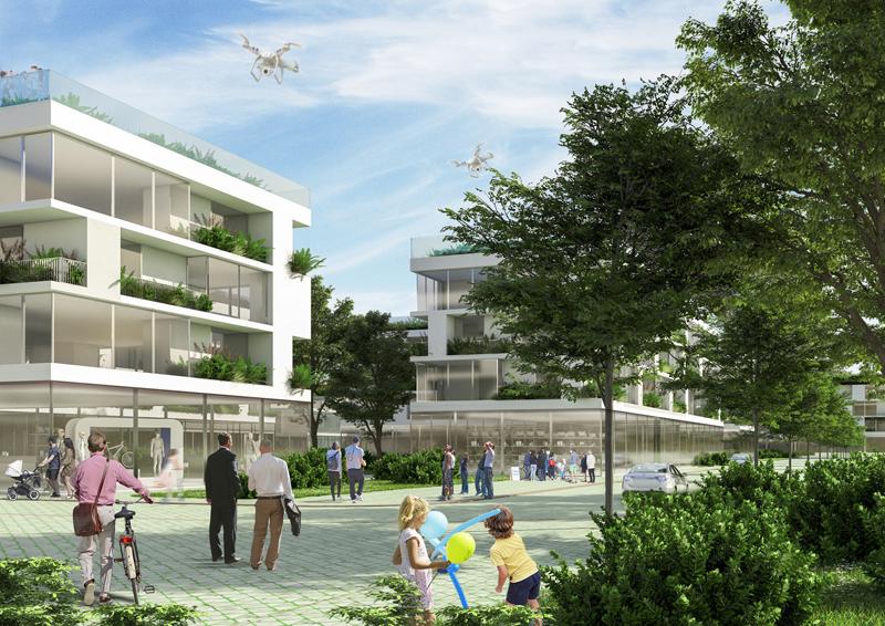 El barrio albergará 3.175 viviendas sostenibles con estructura prefabricada, cubiertas vegetales y con placas fotovoltaicas.