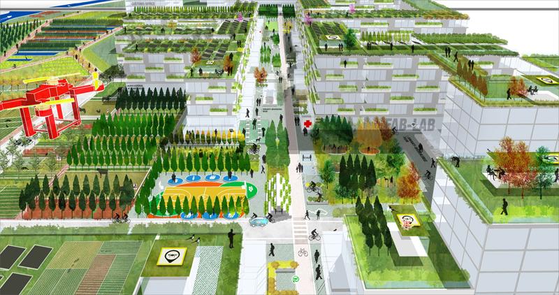 Parques, zona residencial, comercial, y de trabajo