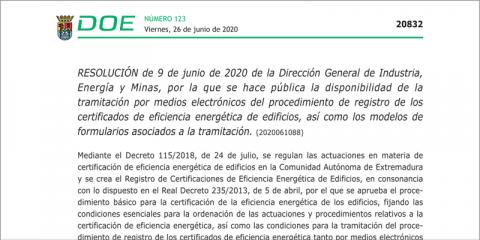 La certificación energética en Extremadura se puede obtener telemáticamente