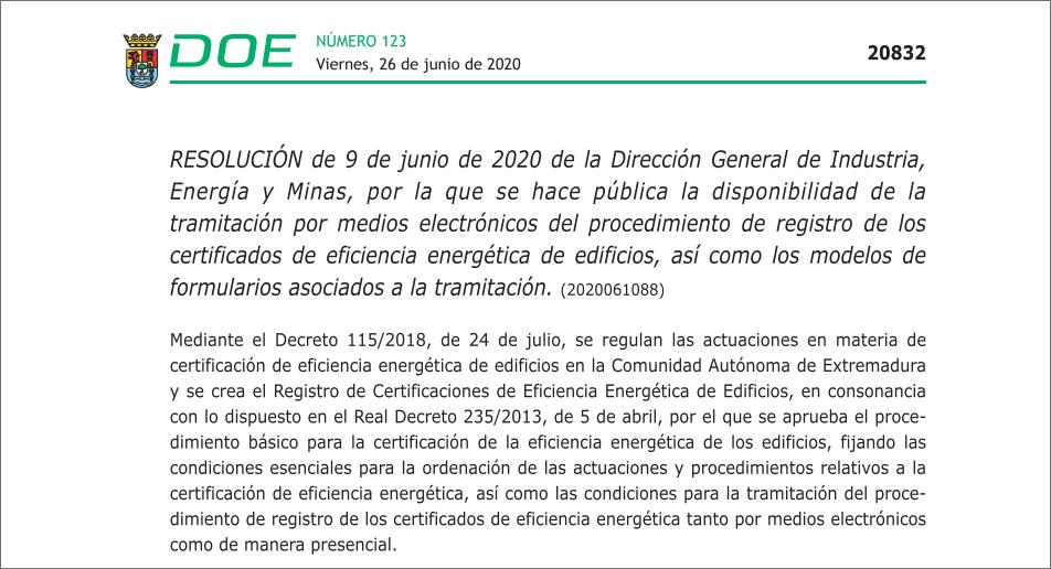 Las certificaciones de eficiencia energética de edificios se realizarán telemáticamente en Extremadura desde el 26 de junio.