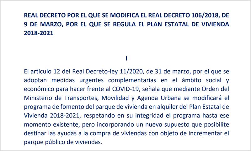 Se extiende el plazo para la ejecución de 193 Áreas de Regeneración y Renovación Urbana del Plan Estatal de Vivienda 2013-2016 y su prórroga en 2017, hasta el 31 de diciembre de 2022.
