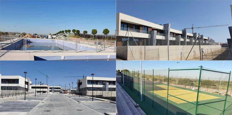 Estado de construcción de los edificios, pista deportiva y piscina de Célere Cortijo Norte el pasado verano.