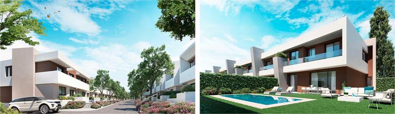 La urbanización dispone de 312 viviendas rodeadas de grandes superficies con espacios verdes y zonas comunes.