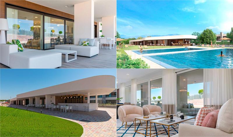 La promoción cuenta con una superficie de 15.000 m2 de zonas comunes, que incluye piscinas, pistas de pádel, sala social-gourmet, y otros servicios.
