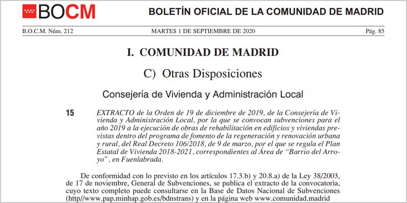 Las bases de la convocatoria de ayudas a la rehabilitación de El Arroyo se publicaron el pasado 1 de septiembre en el BOCM.