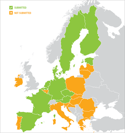 mapa de europa con los países que han remitido sus estrategias y los que no