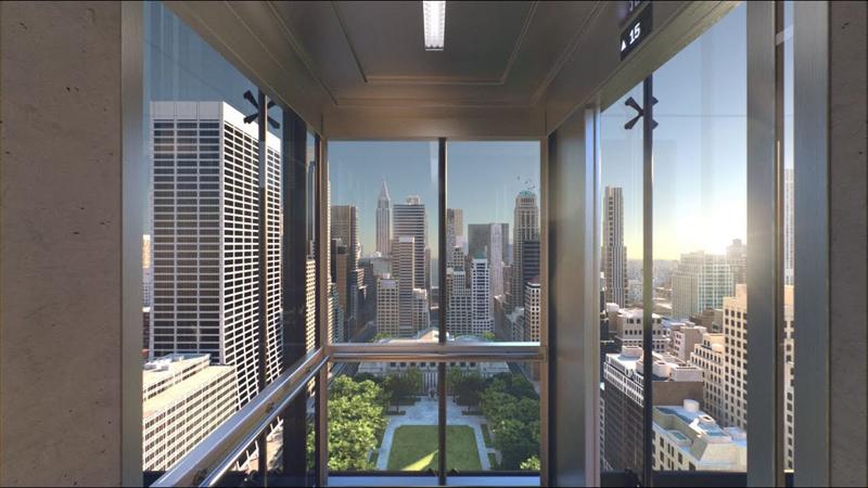 Imagen del interior de un ascensor inteligente Schindler.