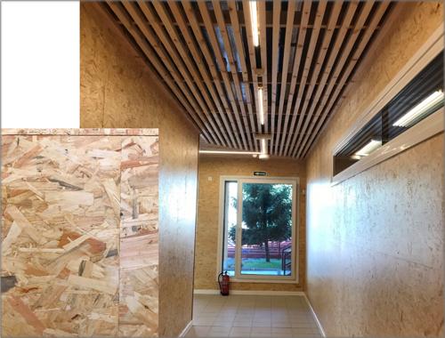Pasillo Principal del Edificio (acabado de Tablero OSB/ lamas de Pino).