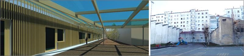 Infografía inicial con uso de software BIM (autodesk revit) y aspecto de solar donde se ubica el nuevo edificio.