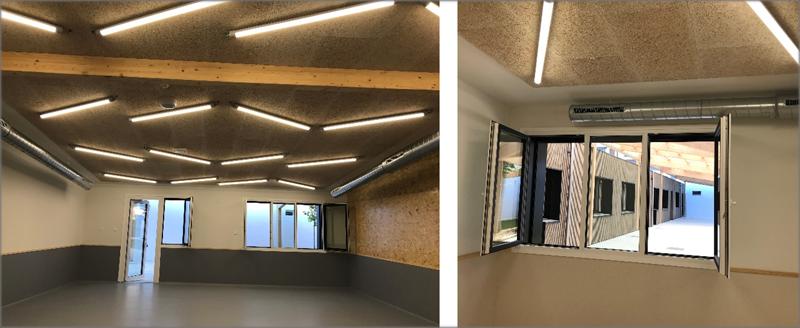 Aspecto interior de Aulas con techos acústicos.
