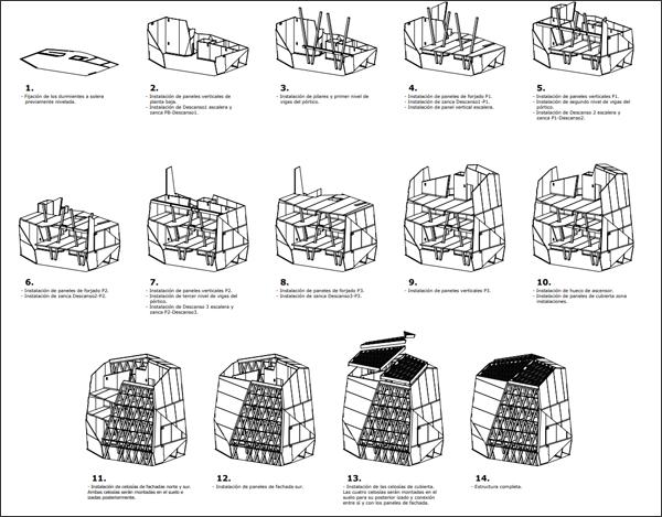 plano con las fases de construcción del edificio