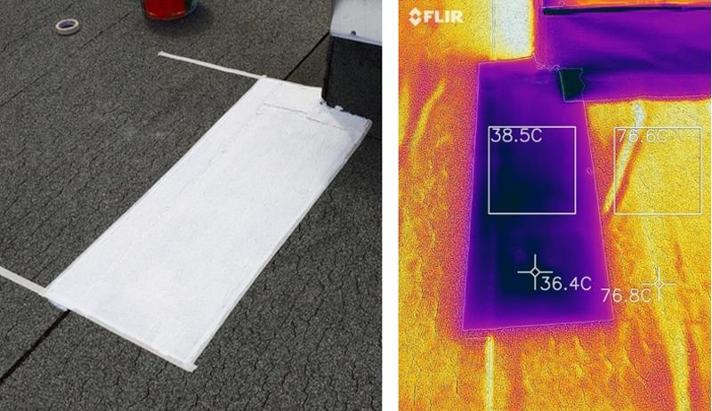 Aplicación de Thermoshield Topshield en cubierta de tela asfáltica. Se observa la diferencia de temperatura en la zona revestida y en la que no, con una diferencia de temperatura de 40.4º C.