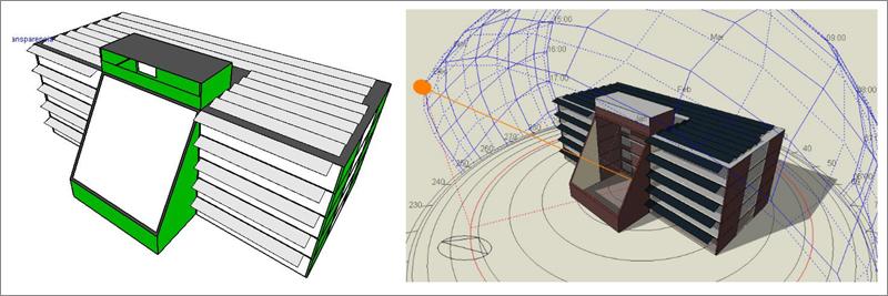 Figuras 6 y 7. imágenes del edificio con las superficies FV integradas.