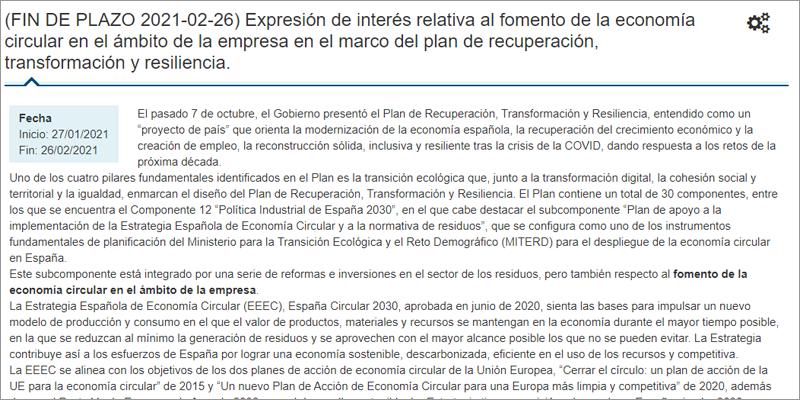 convocatoria de expresión de interés para fomentar la economía circular en empresas