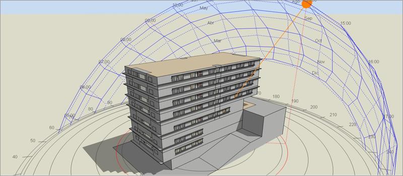 Figura 2. Edificio de referencia, simulado en DesignBuilder.