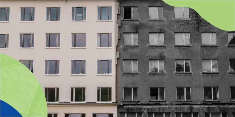edificio rehabilitado y edificio sin rehabilitar