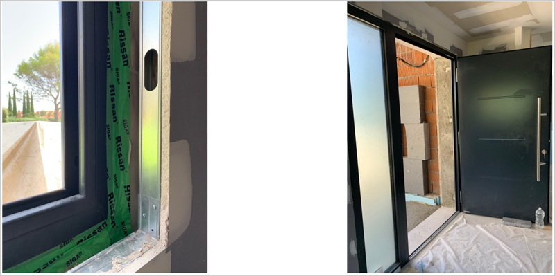 Figura 12. Carpintería exterior PVC de 6 cámaras. Figura 13. Puerta de entrada de aluminio certificada Passivhaus.