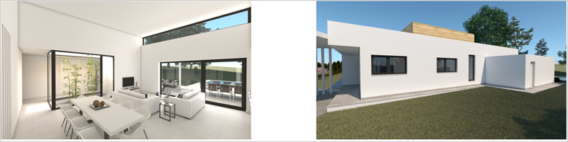 Figura 18. Infografía interior de la vivienda. Salón-comedor. Figura 19. Infografía fachada oeste con edificación auxiliar.
