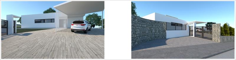 Figura 20. Infografía fachada oeste con edificación auxiliar. Figura 21. Infografía fachada norte desde viario público.
