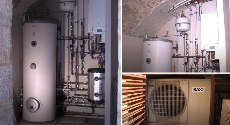 Instalación de la bomba de calor en una de las viviendas de la masía.