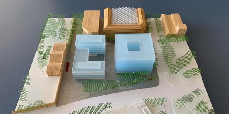 Maqueta de los futuros edificios del Mercat del Peix. Imagen de UPF.